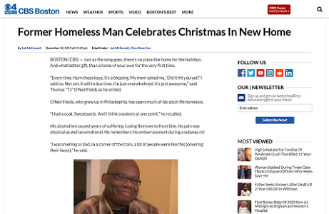 CBS Boston: Former Homeless Man Celebrates In New Home