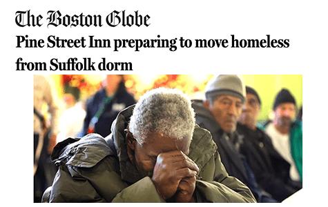 Boston Globe: Pine Street Inn preparing to move homeless from Suffolk dorm