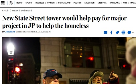 Boston Globe: New State Street tower would help pay for major project in JP to help the homeless